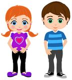 Boy and girl youth. Boy and girl matching kids. Cute, trendy style. Brother and sister. Two friends Stock Image