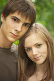 Boy with girlfriend Stock Images