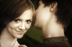 Boy with girlfriend Royalty Free Stock Images
