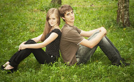 Boy with girlfriend Royalty Free Stock Image