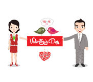 Boy and girlfriend holding Valentine's day note Royalty Free Stock Photography
