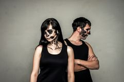 Boy and girl posing in halloween style. Boy and girll posing in halloween style.Isolated studio portrait Royalty Free Stock Photo