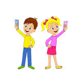 Boy and girll taking selfie photo Royalty Free Stock Image