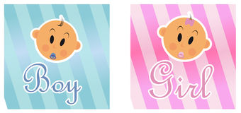 Boy and girls. Wit pink and blue background Royalty Free Stock Photography