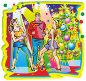 Boy & girls. Young guy a couple of girls holiday new year tantsuyuyut spotlight spotlights fanari jupiter tree toys confetti woman with drink Royalty Free Stock Photo