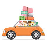 Boy And Girls Driving Car To Travel Royalty Free Stock Images