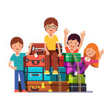 Boy and girls packed for traveling Royalty Free Stock Photo