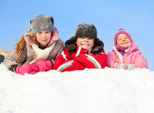 Boy and girls in winter Stock Photography
