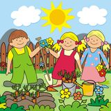 Kids and garden Royalty Free Stock Images