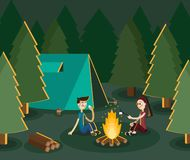 Boy and gitl camping in the forest by the campfire. Vector flat illustration royalty free stock photos