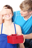 Boy give a gift to his girlfriend Royalty Free Stock Photo