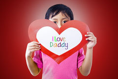 Boy give love card to dad Royalty Free Stock Photo
