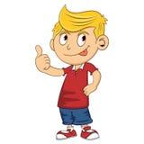 Boy give a thumb up cartoon. Full color royalty free illustration