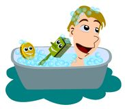 Boy given bath by soap and scrubber Royalty Free Stock Photos