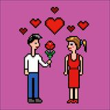 Boy gives flower to a girl, valentines day, pixel art vector illustration. Boy gives a flower to a girl, valentines lovers day, pixel art vector illustration vector illustration