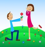Boy gives a flower to the girl Royalty Free Stock Photo
