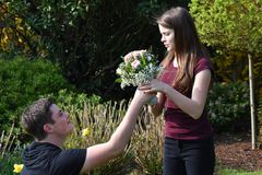 Boy gives flowers to his girlfriend. Pleasant anticipation, boy kneels in front of his girlfriend and gives her a bouquet of flowers stock photography