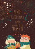 Boy gives a gift to the girl while fireworks in the sky. Vector Christmas card Royalty Free Stock Image