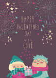 Boy gives a gift to the girl while fireworks in the sky. Vector Valentines card Royalty Free Stock Images