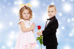 The boy gives the girl a flower. Stock Images