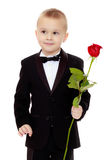 The boy gives the girl a flower. Royalty Free Stock Photos