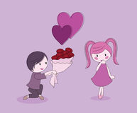 Boy gives girl flowers. To be used as valentine, couples and romance theme Royalty Free Stock Image