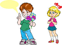 Boy gives a girl flowers Stock Images