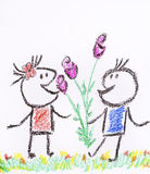 Boy gives a girl a flowers on a white background -illustration Stock Photo