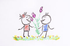 Boy gives a girl a flowers on a white background -illustration. Love couple -boy gives a girl a flower -love concept Stock Images