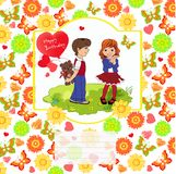 Boy gives a girl a gift. Background of flowers, hearts, butterfl. Ies. Vector illustration Stock Photos