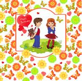 Boy gives a girl a gift. Background of flowers, hearts, butterfl. Ies. Vector illustration Royalty Free Stock Image