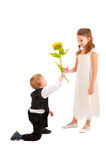 Boy gives a girl a yellow flower Royalty Free Stock Images