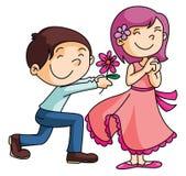 Boy Gives a rose to Girl Stock Photos