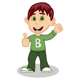 Boy gives thumbs up wearing green long sleeve sweater and dark green trousers cartoon Royalty Free Stock Images