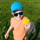 Boy giving dandelion to mom. Nice boy giving yellow dandelion to mom Royalty Free Stock Image
