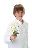 Boy giving flower Stock Photos