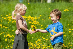Boy giving flowers for a girl Stock Photo