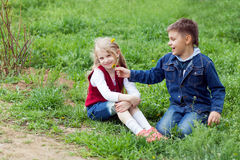 Boy giving flowers to a girl Stock Photo