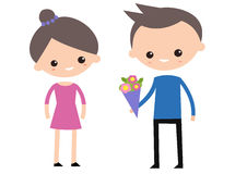 A boy giving flowers to a girl. Flat   illustration, clip art Stock Images