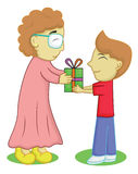 Boy Giving a Gift for Grandmother Royalty Free Stock Photo