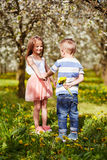 Boy giving a girl a flower stock photo