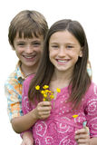 Boy giving girl flowers, smiling, portrait, cut out Stock Image