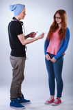 Boy giving girl a joint Royalty Free Stock Photo