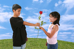 Boy Giving Girl a Rose Stock Photography