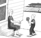 Boy giving grandmother flowers. Young boy giving senior woman flowers in front of her home Vector Illustration