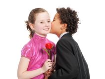 Boy giving a rose to a girl Stock Image
