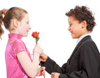 Boy giving a rose to a girl Stock Images