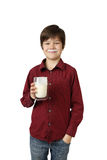 Boy with glass of kefir Stock Photography