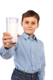 Boy with a glass of milk Stock Photography