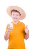 Boy with  glass of milk Stock Photos